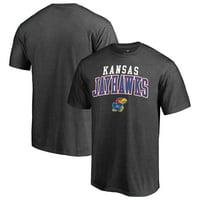 Kansas Jayhawks Fanatics Branded Team Logo Square Up T-Shirt - Heathered Charcoal