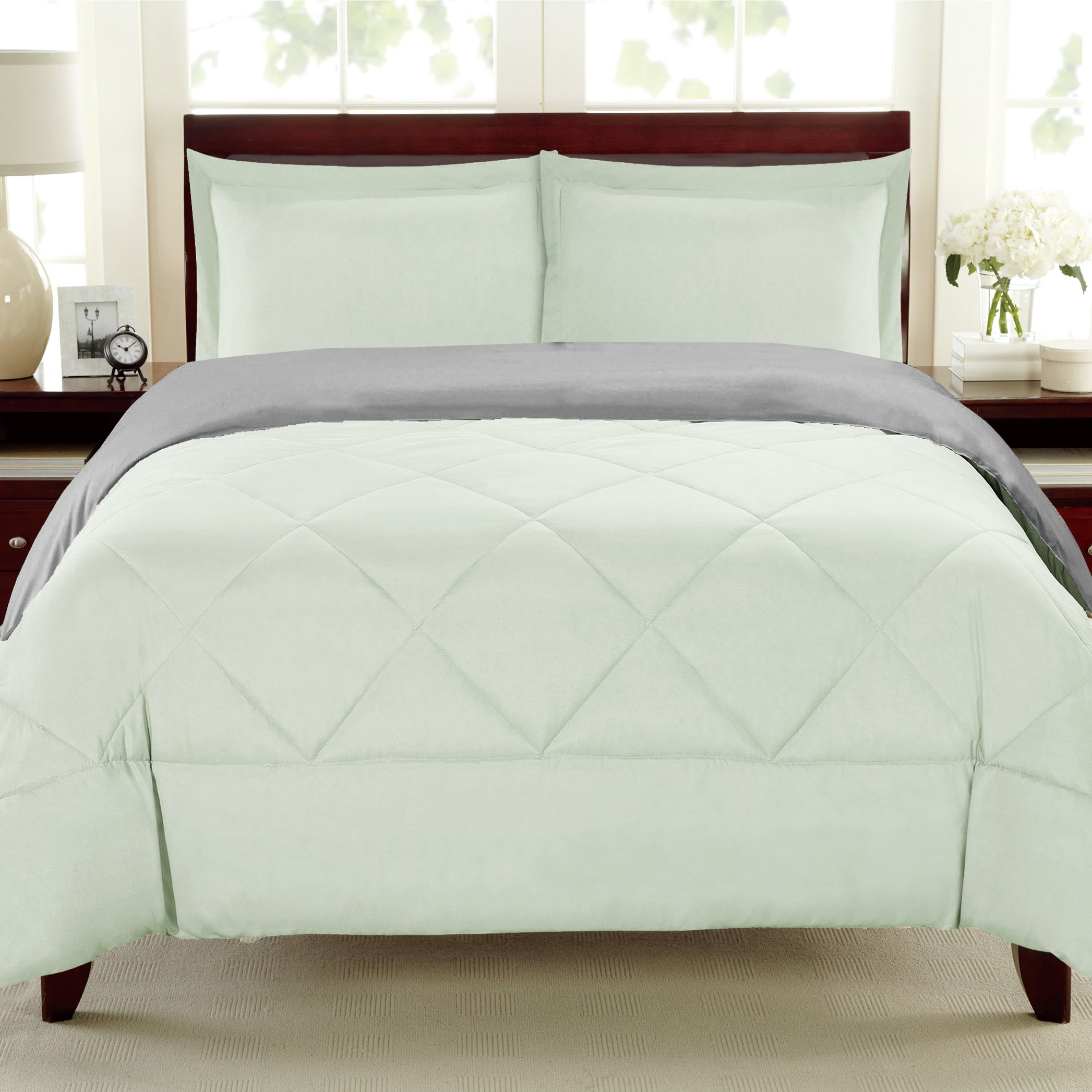 bed bath n more Reversible All Season Down Alternative Grey and Mint 3-piece Comforter Set