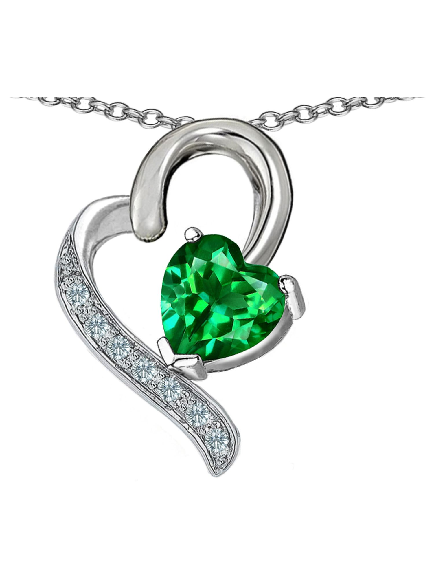 Star K 7mm Cushion Cut Simulated Emerald Bali Style Pendant Necklace Sterling Silver