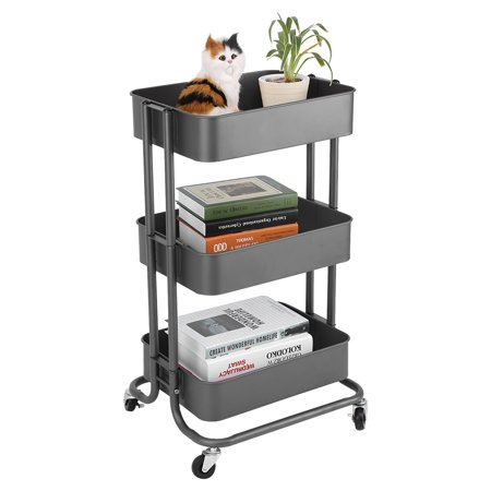 3-Tier Utility Service Cart Rolling Storage Utility Cart