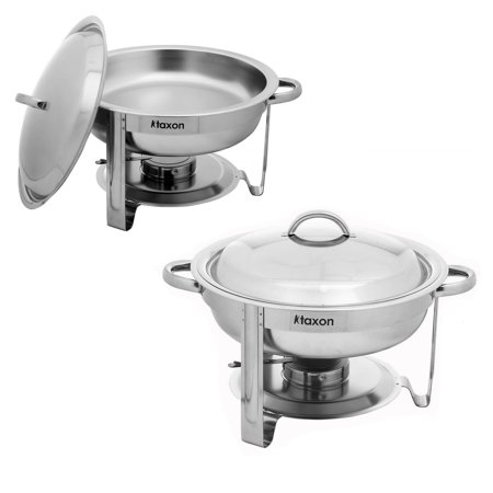 UBesGoo (Set of 2) 5Qt Stainless Steel Chafing Dish Complete Full Size Chafer Buffet Dish, for Catering Buffet Warmer Tray Kitchen Party Dinin (Stainless Buffet Pan Full)
