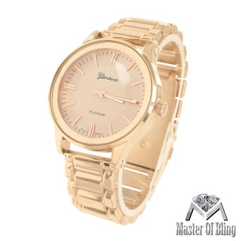 Unisex Rose Finish Watch Geneva Platinum Stainless Steel Back Water Resist New by