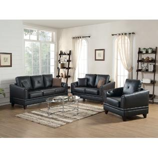 Vedi 3 Piece Living Room Set In Genuine Leather Match