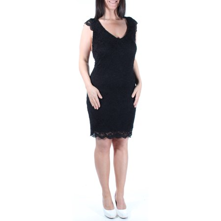 Junior Party Dress - JUMP Womens Black Lace 0 Sleeveless Scoop Neck Body Con Party Dress Juniors  Size: 9