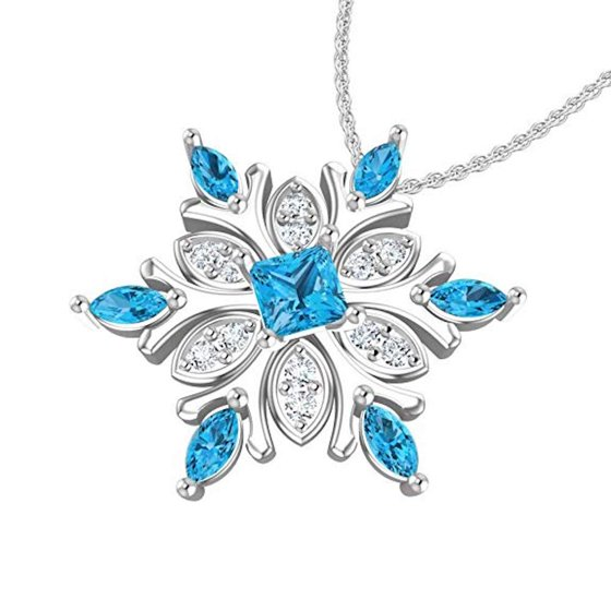 a0c01d71835171 Belinda Jewelz - Sterling Silver Snowflake Necklace with Swiss Blue ...