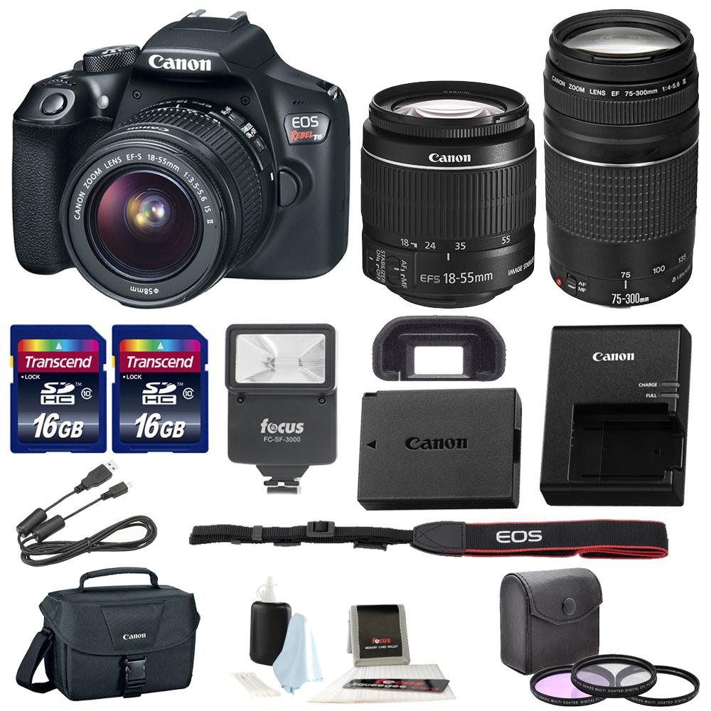 Canon Rebel T6 DSLR Camera w/18-55mm ; 75-300mm Lenses + Promotional