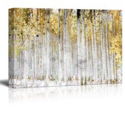 """wall26 - Abstract Trees with Yellow Leaves - Canvas Art Wall Decor - 16""""x24"""""""