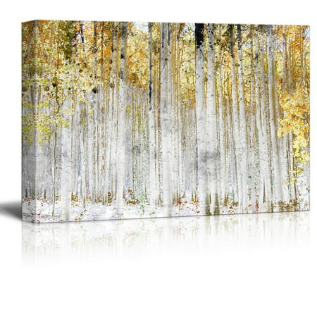 wall26 - Abstract Trees with Yellow Leaves - Canvas Art Wall Decor - 16