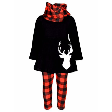 Girls 3 Piece Christmas Plaid Reindeer Outfit (2T/XS, Red)](Christmas Girl Outfit)
