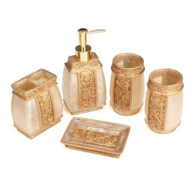 5 Piece Bathroom Accessories Set Bathroom Decor Set Features Soap Dispenser Toothbrush Holder Tumbler Soap Dish Bath Gift Set Walmart Com Walmart Com