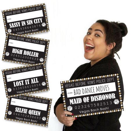 Vegas Before Vows - Las Vegas Bridal Shower or Bachelorette Party Mug Shots - Photo Booth Props Mugshot Signs - 20 Count (Best Halloween Parties In Vegas)