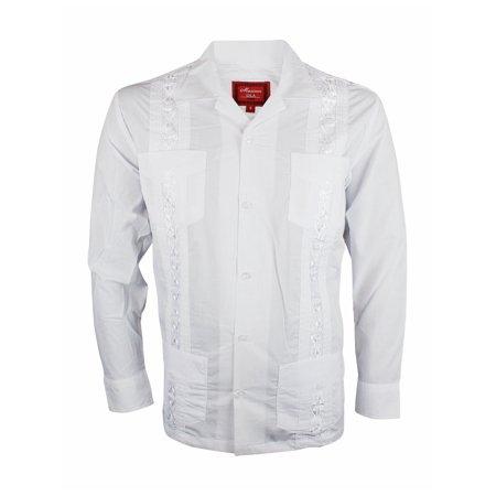 - Maximos Guayabera Men's Cuban Style Bartender Wedding Button Up Long Sleeve Dress Shirt White