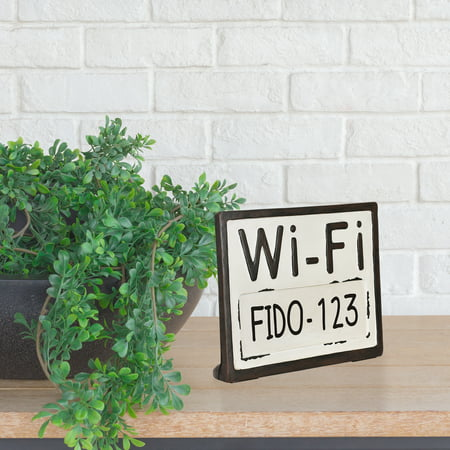 "Better Homes & Gardens 9"" x 1.5"" x 7"" Tabletop Wifi Password Sign, Black"