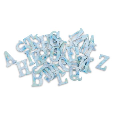 Momenta Chipboard Stickers - Blue Watercolor, Uppercase Letters, Set of - Boxed Chipboard Letters