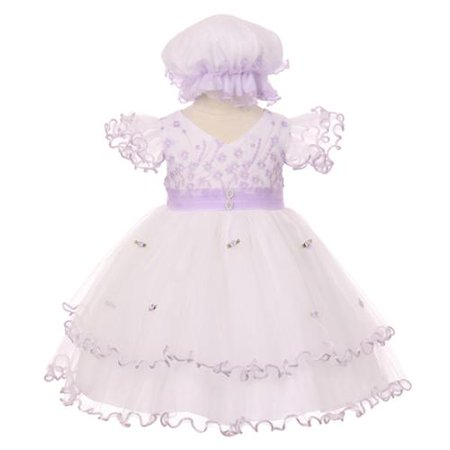 - Baby Girls Lilac Floral Embroidery Jewel Ruffle Bonnet Flower Girl Dress 6M