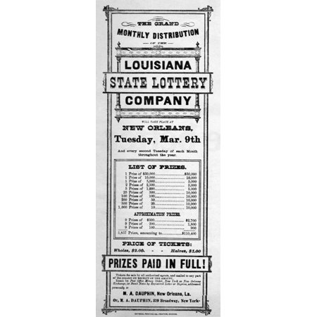 Lottery 19Th Century Nadvertisement For The Louisiana State Lottery Company 19Th Century Rolled Canvas Art     24 X 36