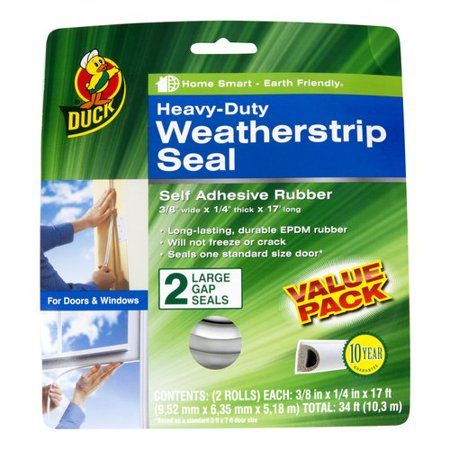Duck Brand Heavy Duty Weatherstrip Seal For Large Gaps  2Pk