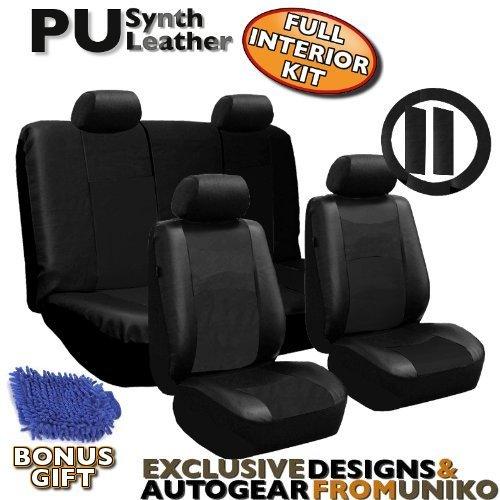 Full Set Pu LEATHER Universal Synthetic 11pc Car Seat Covers Black Color Free Bonus Steering Wheel & Shoulder Pads & BONUS DETAILING WASH MITT & AIR FRESHENER