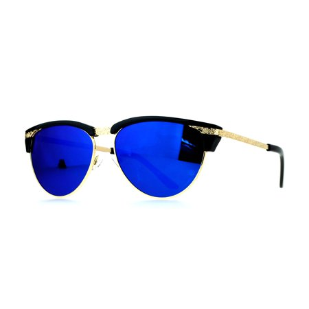 SA106 Victorian Art Deco Engraving Trim Half Rim Cat Eye Sunglasses Blue - Devo Sunglasses
