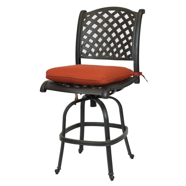 Comfort Care CC03B-TC Cast Aluminum Armless Weave Outdoor Barstool with Sunbrella Terra Cotta Cushion - 50.6 x 22.8 x 27 in. - Set of 2