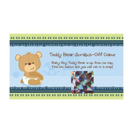 Baby Boy Teddy Bear - Party Game Scratch Off Cards - 22 Count