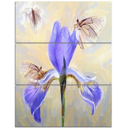 Blue Butterfly Designs (Design Art 'Blue Flower with Butterflies Sketch' 3 Piece Painting Print on Wrapped Canvas)