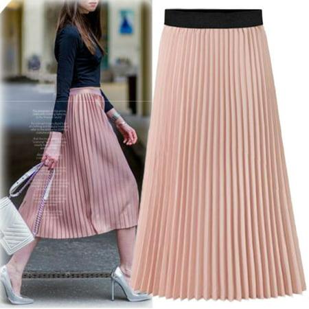 Womens Skirt  Coxeer Summer Beach Chiffon Pleated Elastic A Line High Waist Long Skirt Casual Dress For Women Girls Ladies