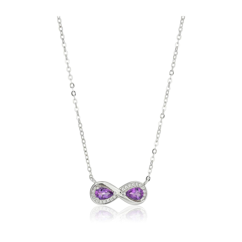 Pinctore Sterling Silver Fire Opal Black Flower Pendant Necklace 18