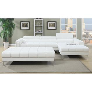 Potenza 2 Pieces Sectional Sofa with Ottoman Upholstered in Bonded Leather Walmart