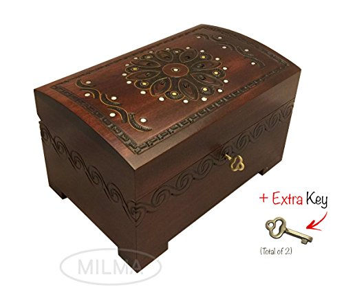 Large Flower and Holly Wood Jewelry Chest with Lock and K...