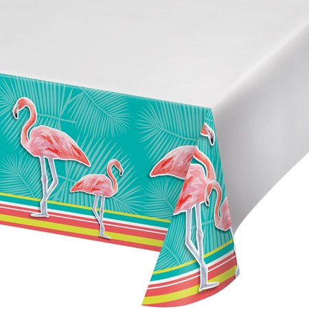 Club Pack of 12 Green and Pink Island Oasis Flamingo Border Printed Plastic Table Cover - Plastic Flamingos