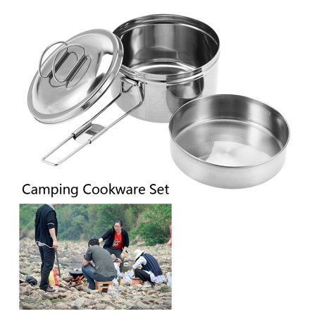 3pcs Portable Stainless Steel Cookware Set Camping Picnic