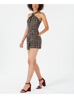 19 COOPER Womens Black Ruffled Herringbone Cap Sleeve V Neck Mini Fit + Flare Party Dress  Size: M