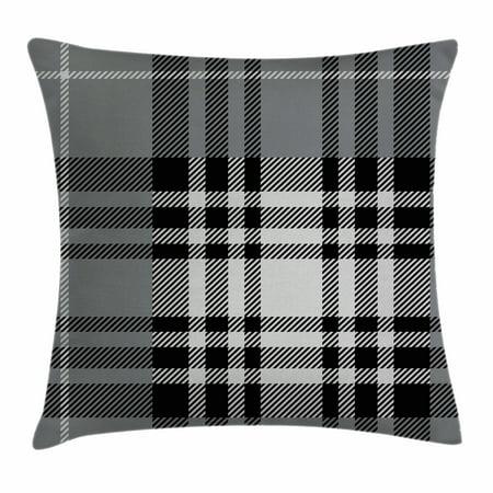 Checkered Throw Pillow Cushion Cover Old Fashioned Plaid Tartan In