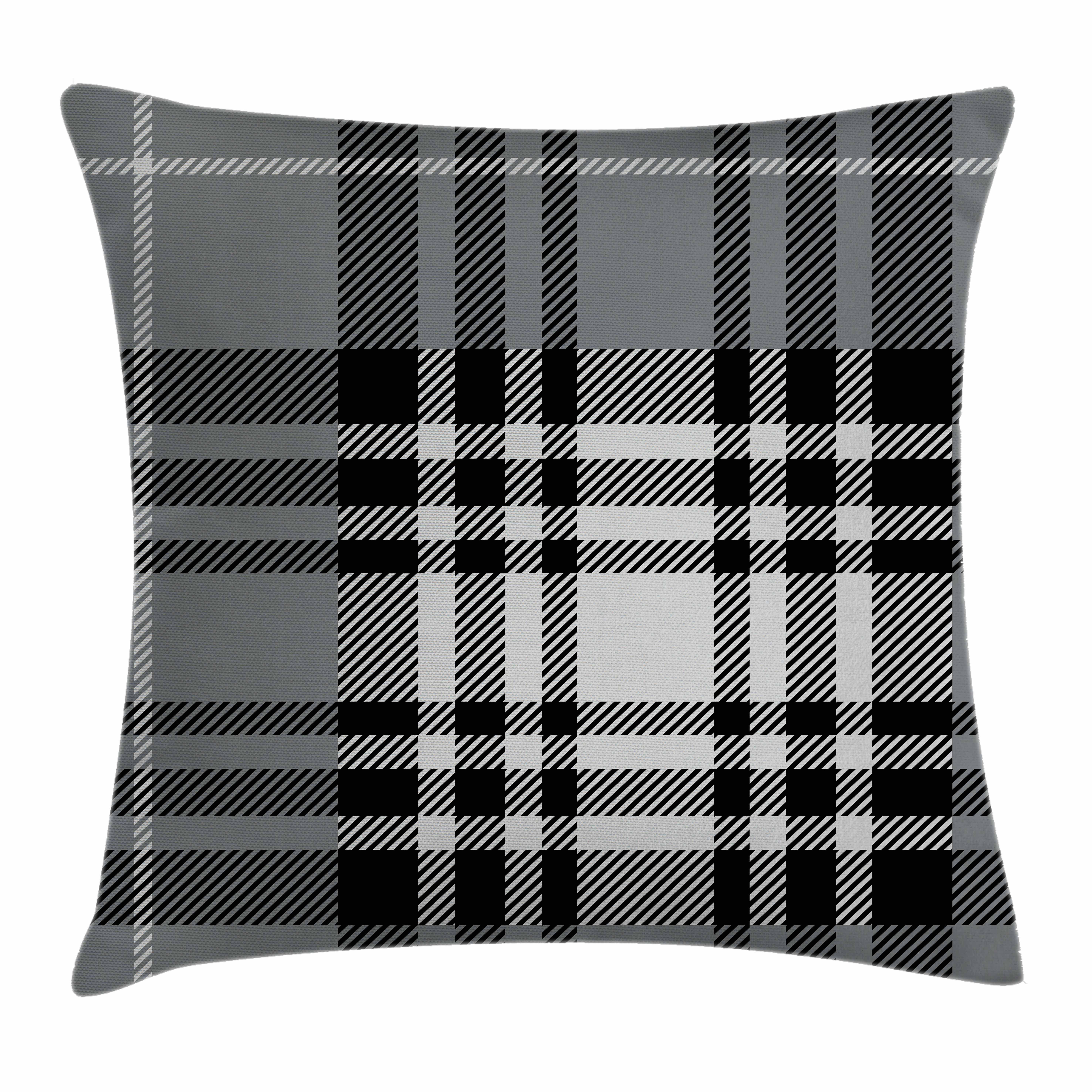 Checkered Throw Pillow Cushion Cover, Old Fashioned Plaid Tartan in Dark Colors Classic English Tile Symmetrical, Decorative Square Accent Pillow Case, 16 X 16 Inches, Grey Black White, by Ambesonne