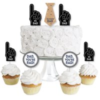 My Dad is Rad - Dessert Cupcake Toppers - Father's Day Clear Treat Picks - Set of 24