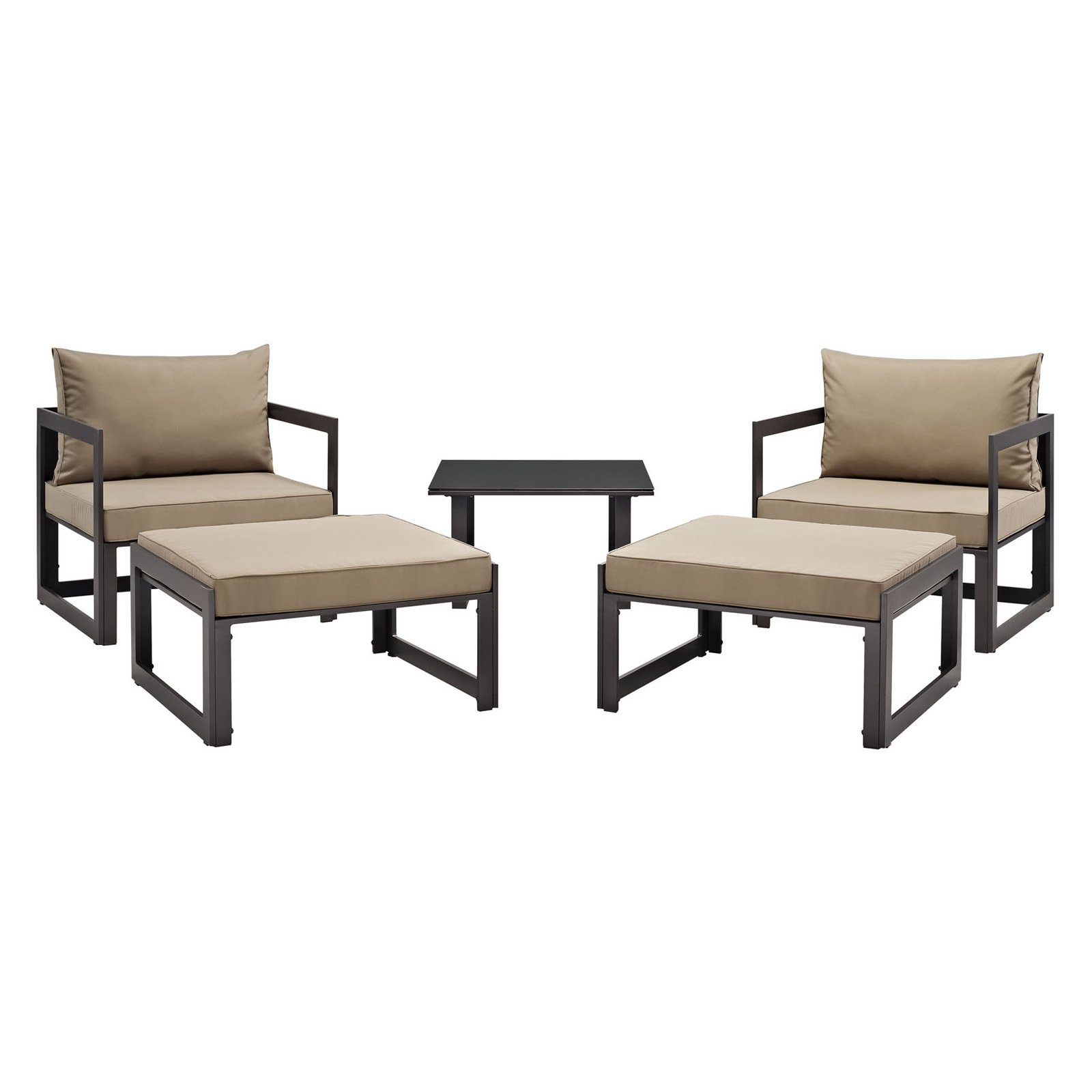 Modway Fortuna 5 Piece Outdoor Patio Sectional Sofa Set, Multiple Colors