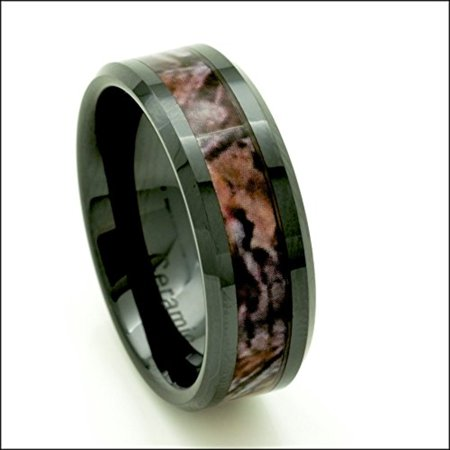 Black Ceramic Men's Hunting Camo Ring 8mm Comfort Fit Wedding Band (10)](Orange Camo Wedding Rings)