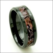 black ceramic mens hunting camo ring 8mm comfort fit wedding band