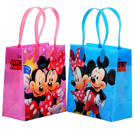 Mickey and Minnie Mouse  12  Party Favor Reusable Goodie Small Gift Bags - Mickey Mouse Party Buckets