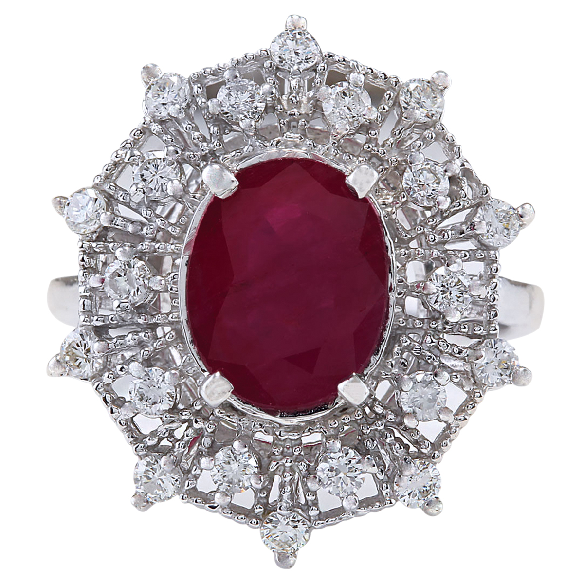 3.87CTW Natural Ruby And Diamond Ring In 14K White Gold by