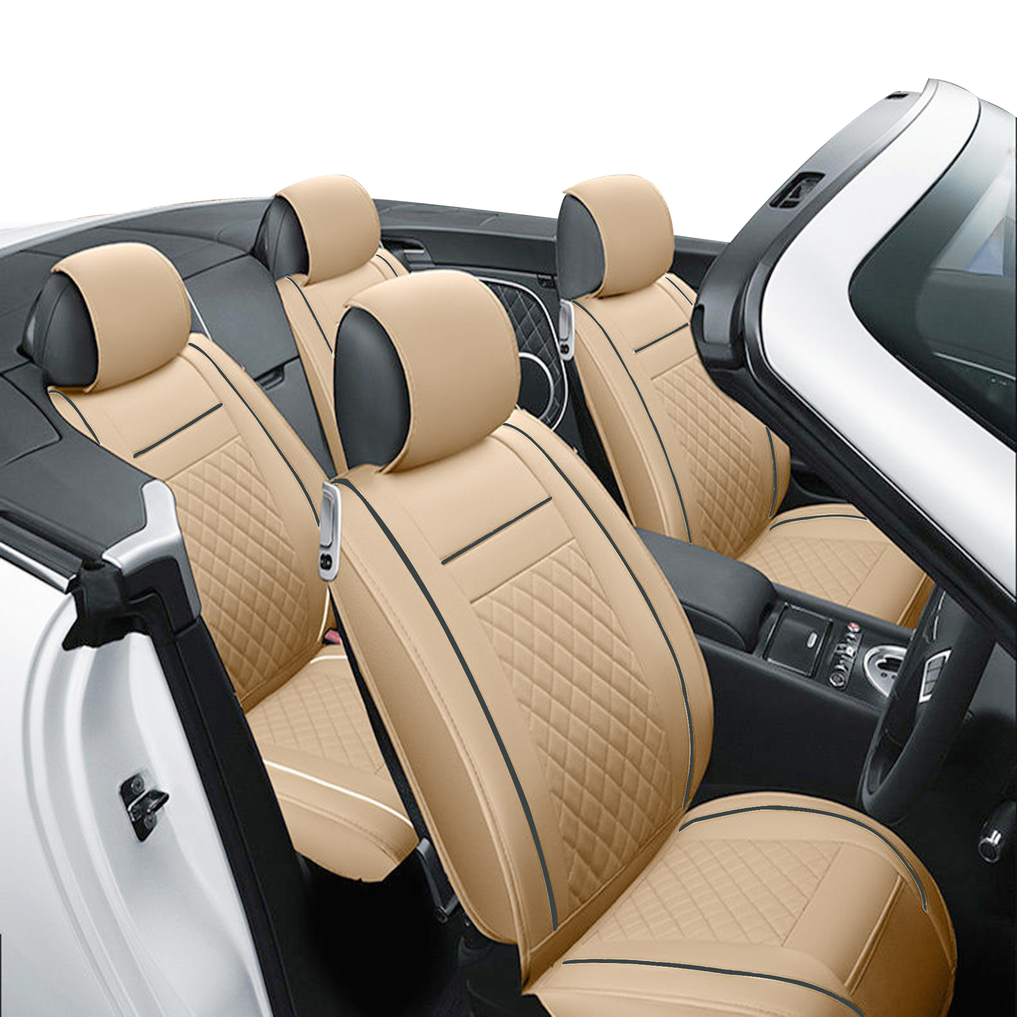 TINTON LIFE PU Leather Car Seat Cover Auto Car Seat Cushion Chair Mat Protector Useful, Beige