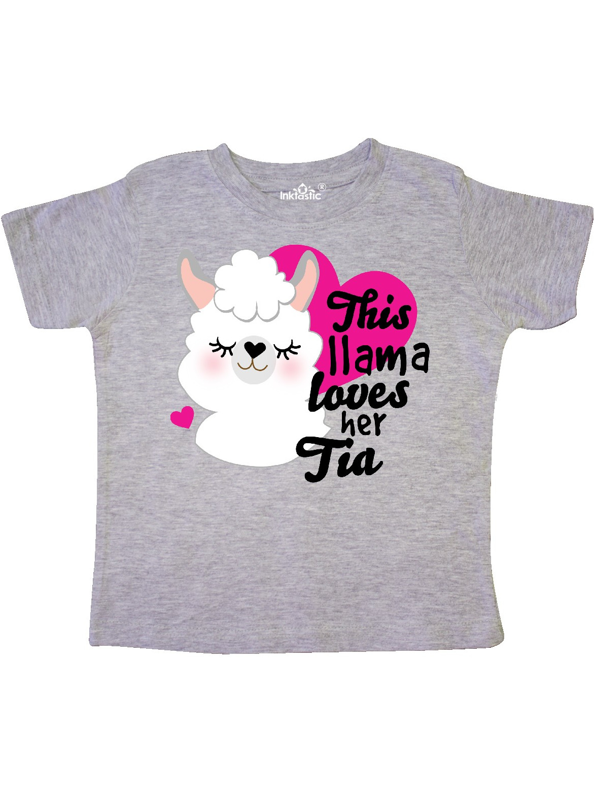 inktastic This Bunny Loves Her Tia with Bunny Face and Flowers Toddler T-Shirt