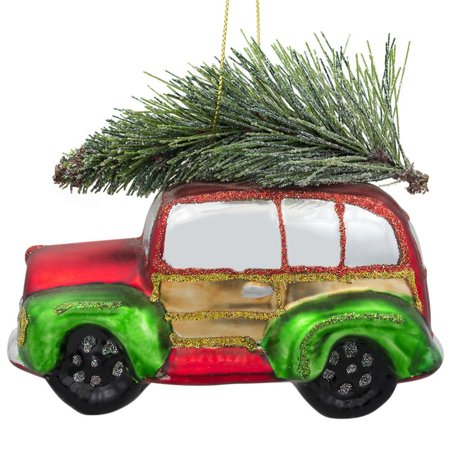 Vintage Christmas Ornaments (Vintage Car with Artificial Tree Glass Christmas)