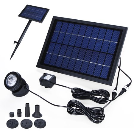 Solar Power Decorative Fountain Water Pump with 6 LED Spotlight for Garden Pond Pool Water Cycle 10V -