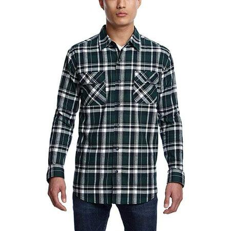 Weatherproof Vintage Men's Lightweight Plaid Flannel Shirt (Green, Large)