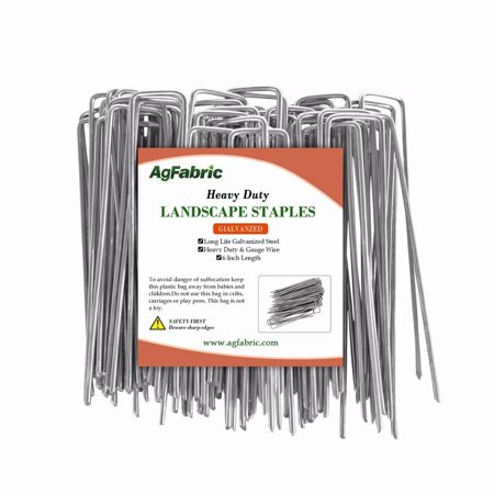 Agfabric 10 -Pack Anti-Rust Galvanized Ground Staples Heavy-Duty Steel Sod Stakes Anchor Pins U-Shaped Garden Securing Pegs for Securing Landscape Weed Fabric,5.9