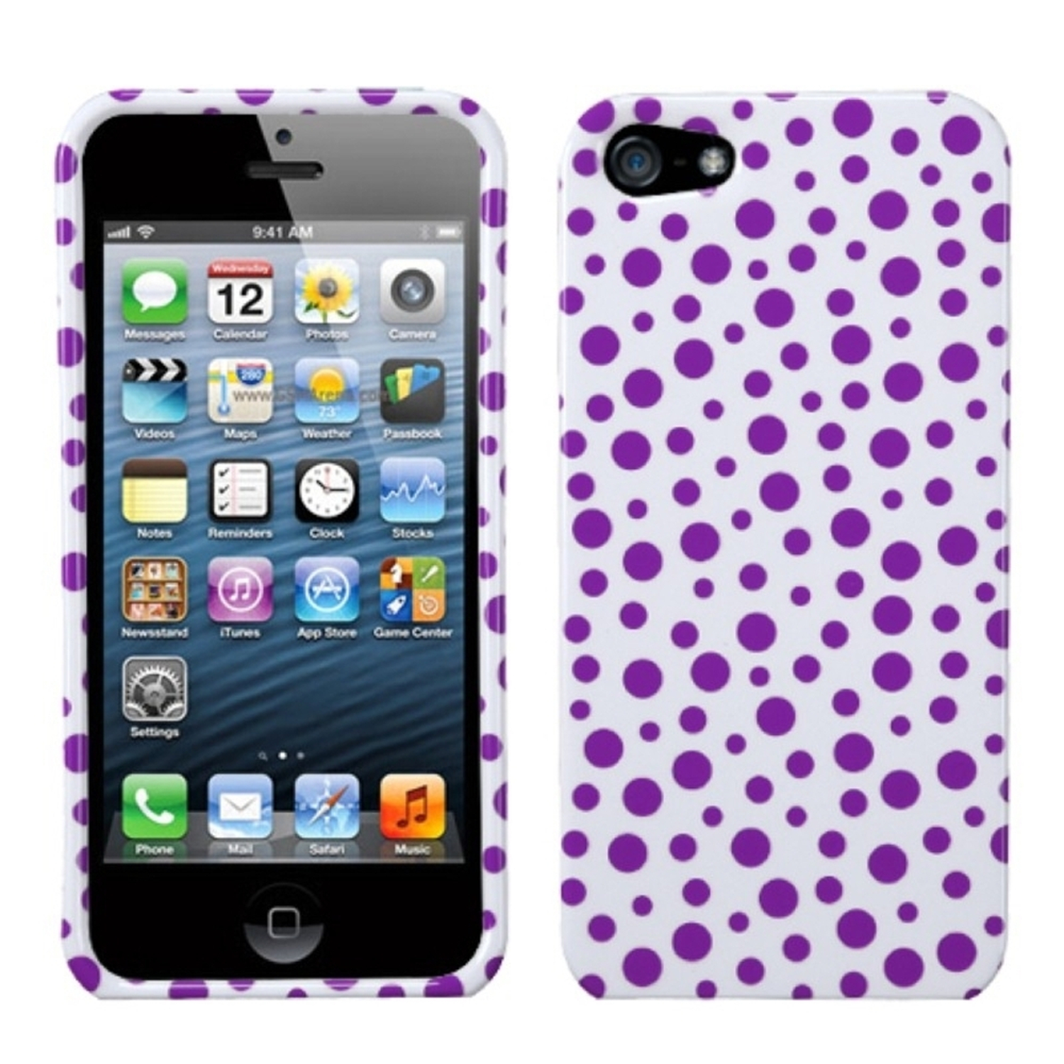 Insten Purple Mixed Polka Dots Phone Case for Apple iPhone SE / 5S / 5