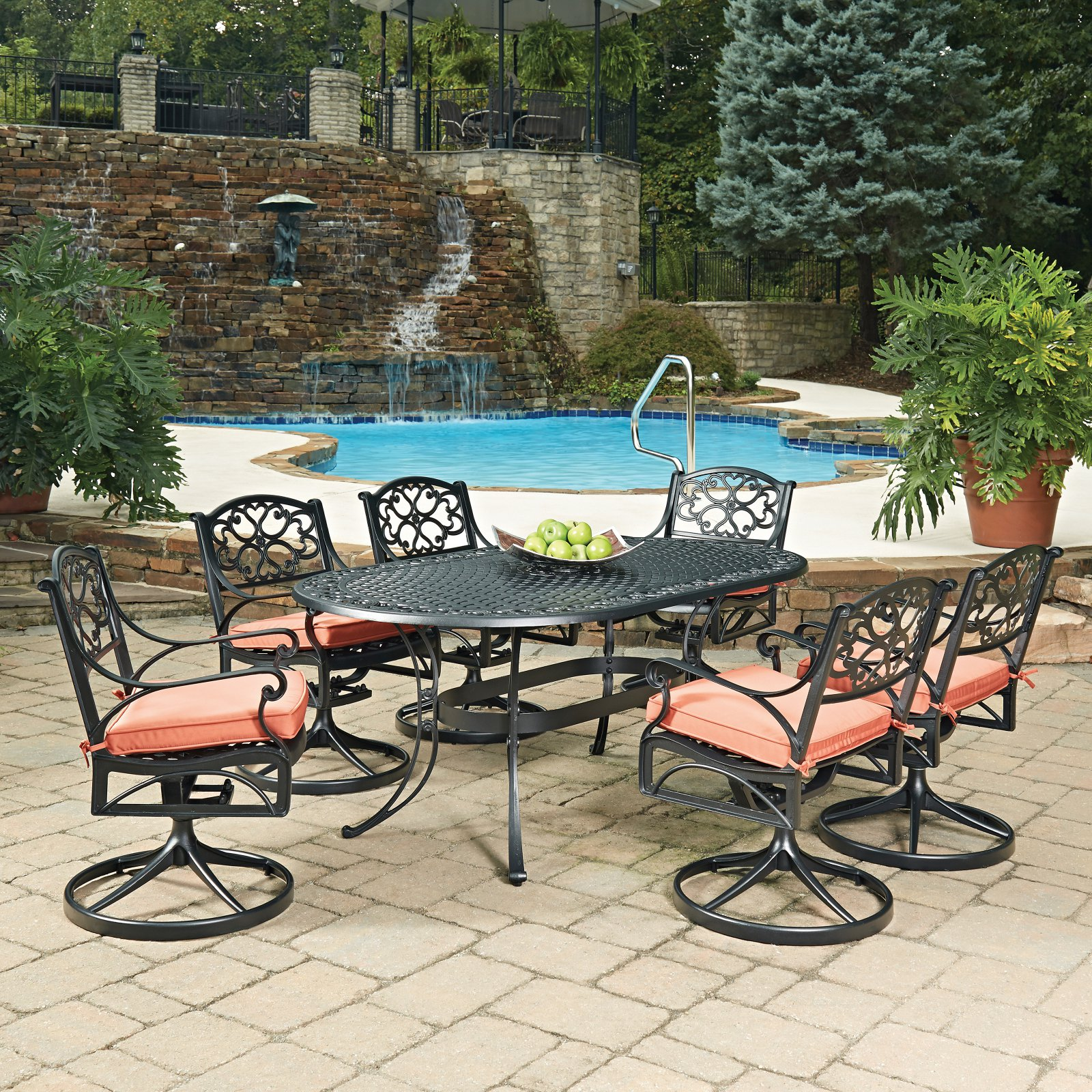 Home Styles Biscayne Swivel Patio Dining Room Set Seats 6 by Home Styles