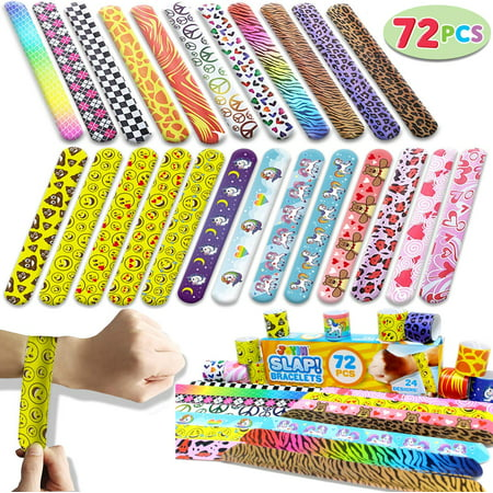 Roller Skating Party Ideas (Roller Skate Party Supplies Toy 72 PCs Slap Bracelets Valentines Day Party Favors Pack (24 Designs) with Colorful Hearts Animal Emoji and Unicorn for Valentines Gift and Classroom)